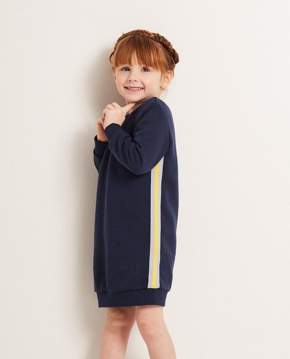 Kleider - Navy - Sweatkleid mit Besatz